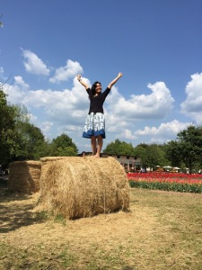 Kana got super excited about the bales of hay.